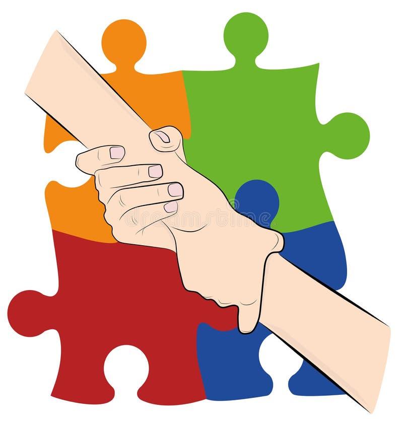De hand van de handholding op de achtergrond van gekleurde raadsels Autismesymbool De Dag van het wereldautisme Vector illustrati vector illustratie
