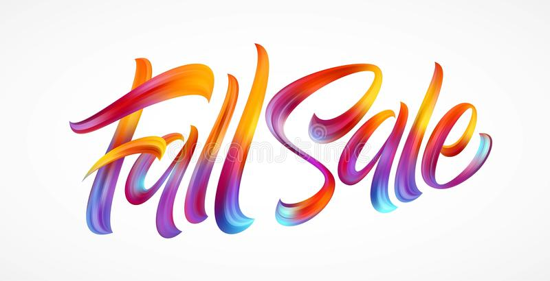 De hand van het de herfstseizoen het van letters voorzien Dalingsverkoop Moderne die borstelkalligrafie op witte achtergrond word royalty-vrije illustratie