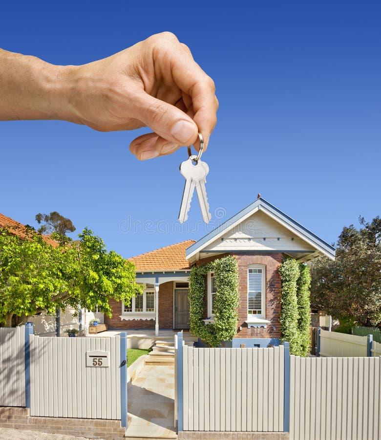 De Hand van het Huis van het Huis van sleutels stock foto