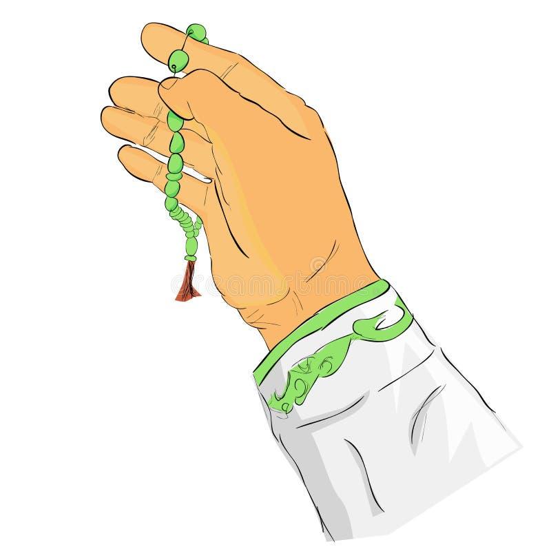 De hand van het krabbelgebaar bidt voor god gebruikend gebedparels of tasbih, geïsoleerd op wit royalty-vrije illustratie