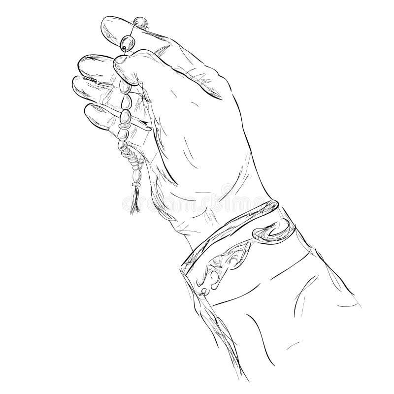 De Hand van het krabbelgebaar het Verheffen voor God die gebedparels gebruiken vector illustratie