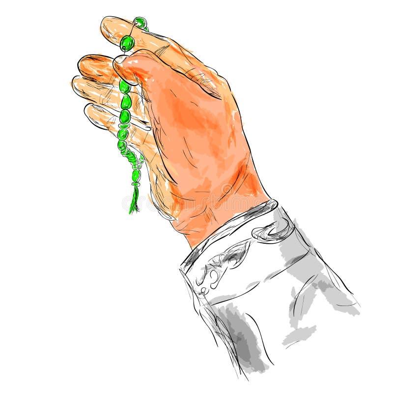 De Hand van het krabbelgebaar het Verheffen voor God die gebedparels gebruiken, bij Waterverfeffect royalty-vrije illustratie