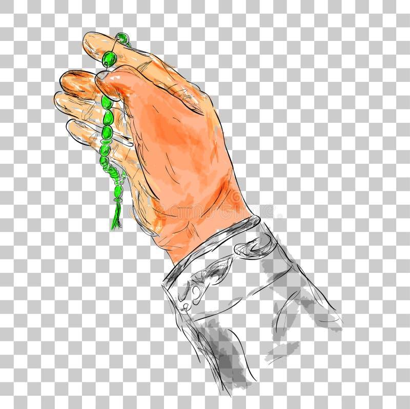 De hand van het krabbelgebaar het verheffen voor god die gebedparels gebruiken of tasbih, bij Waterverfeffect royalty-vrije illustratie