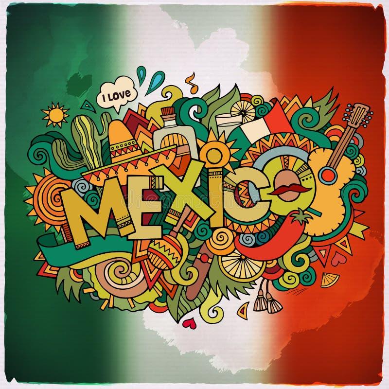 De hand van het land van Mexico het van letters voorzien en krabbelselementen stock illustratie