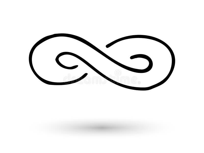 De hand van het oneindigheidssymbool die met inktborstel wordt getrokken royalty-vrije illustratie