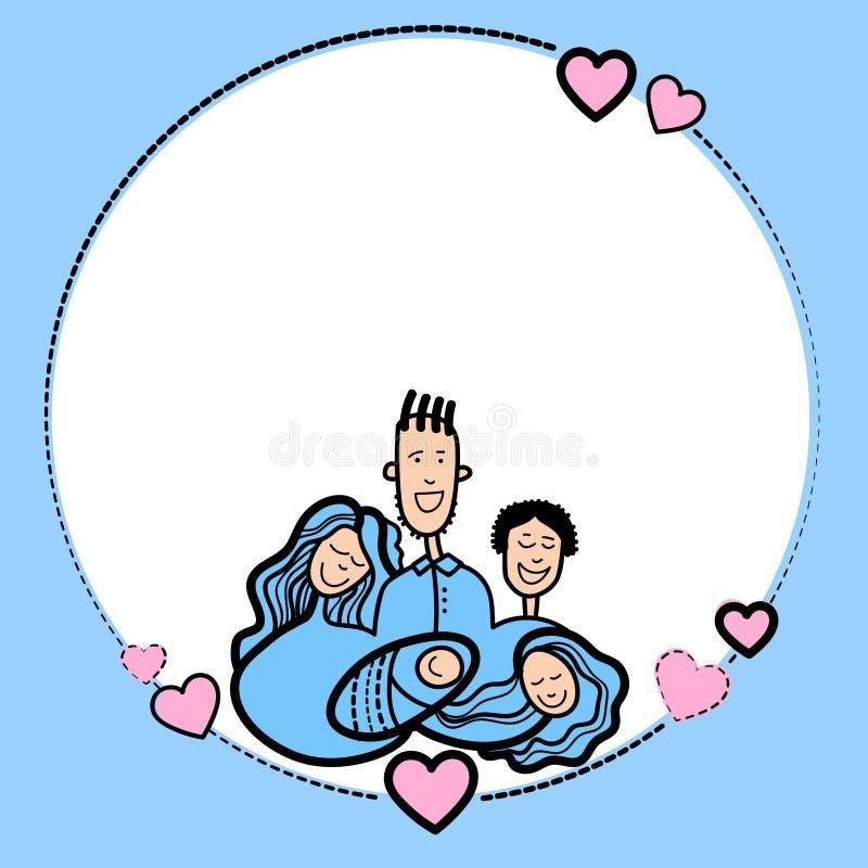 De Hand van het schetskader trekt van het de Jonge geitjeshart van Familieouders de Vormliefde vector illustratie