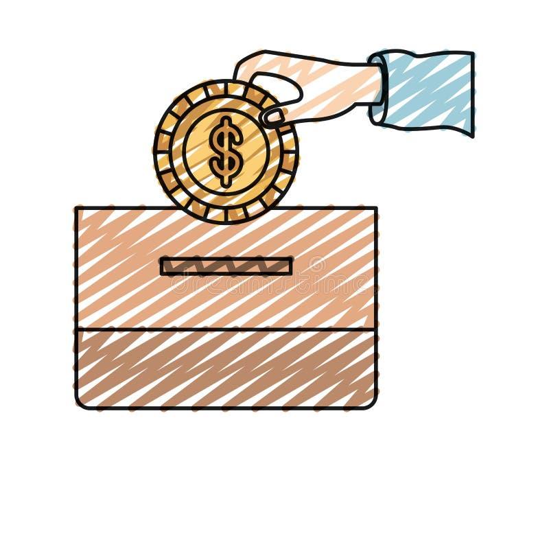 De hand van het het silhouet vooraanzicht van het kleurenkleurpotlood met vlak muntstuk met dollarsymbool het deponeren in een ka vector illustratie