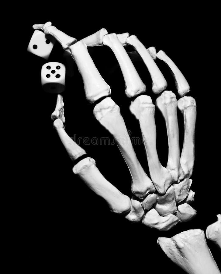 De hand van het skelet met dobbelt stock afbeelding