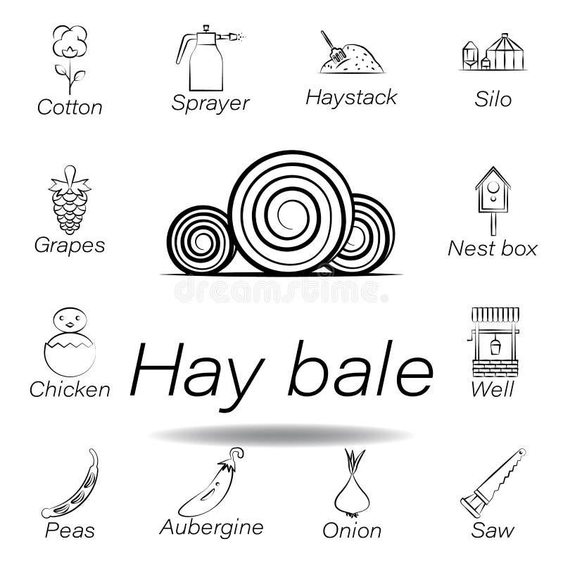 De hand van de hooibaal trekt pictogram Element van de landbouw van illustratiepictogrammen De tekens en de symbolen kunnen voor  stock illustratie