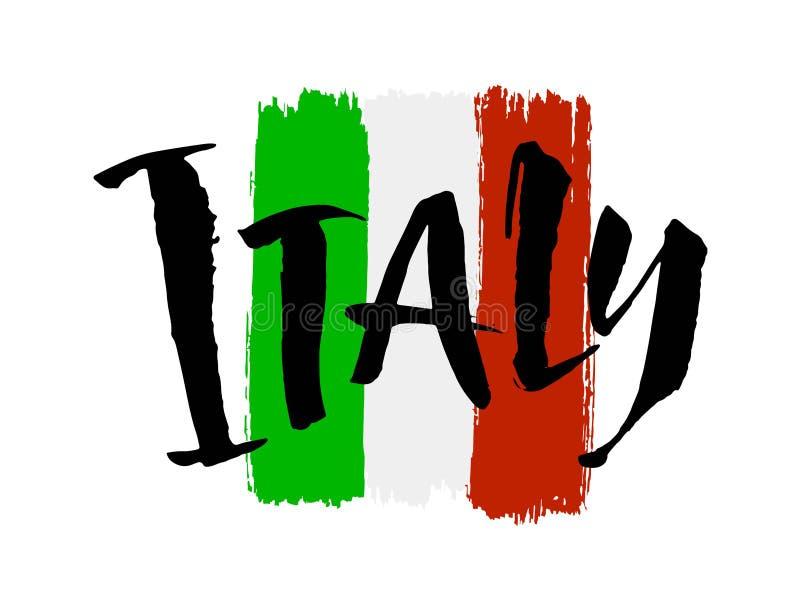 De hand van Itali? het van letters voorzien Naam van land Inktillustratie Moderne borstelkalligrafie Ge?soleerdj op witte achterg stock afbeeldingen