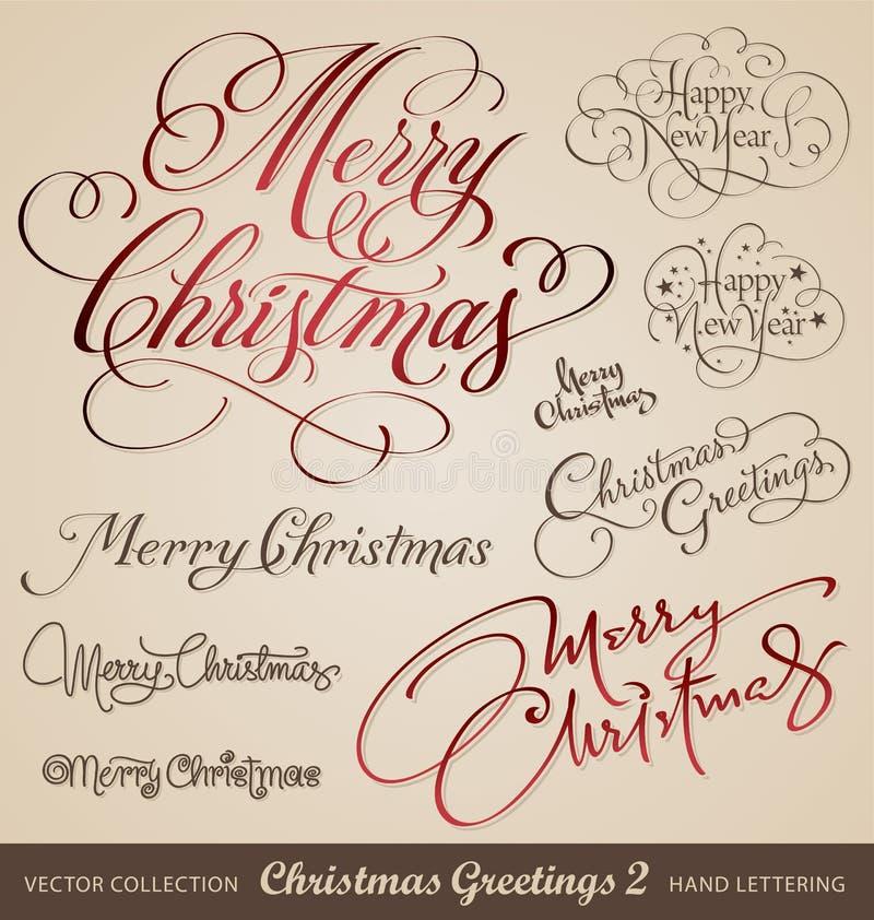 De hand van Kerstmis het van letters voorzien reeks royalty-vrije illustratie