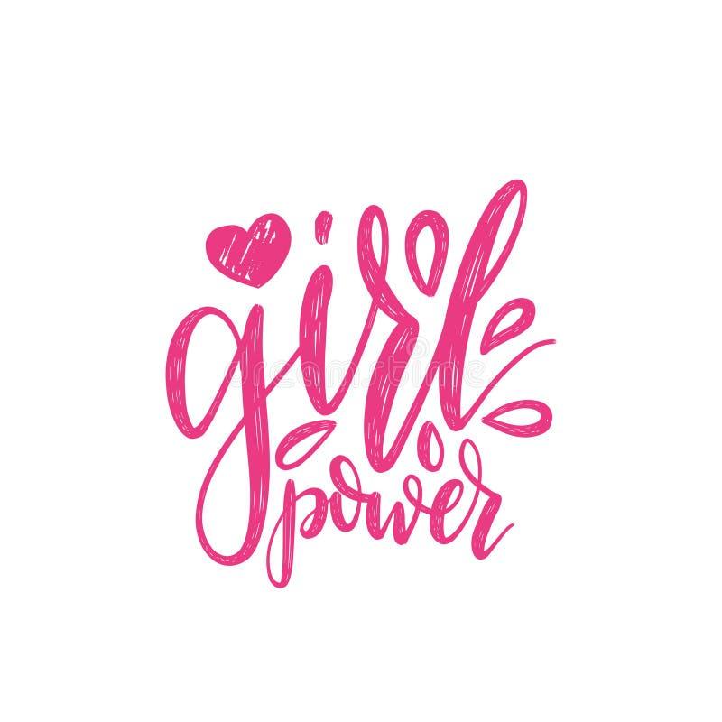 De hand van letters voorziende druk van de meisjesmacht Vector kalligrafische illustratie van feministische beweging royalty-vrije illustratie