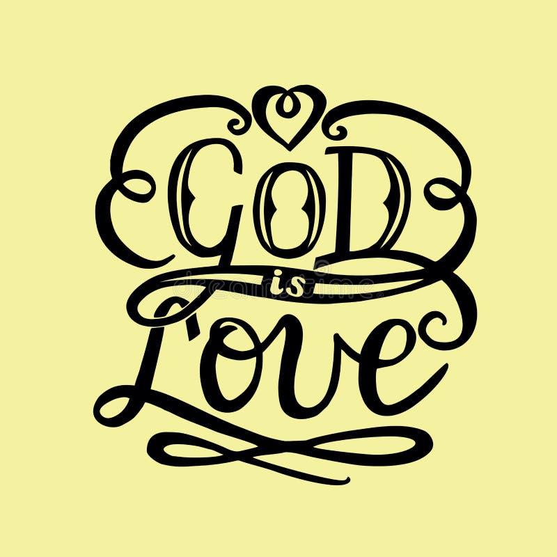 Is de hand van letters voorziende God liefde met hart vector illustratie