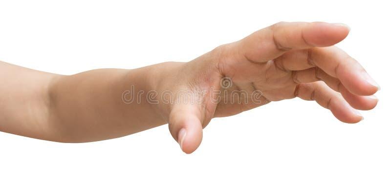 De hand van mannetje of het wijfje probeert om iets te bereiken royalty-vrije stock foto's