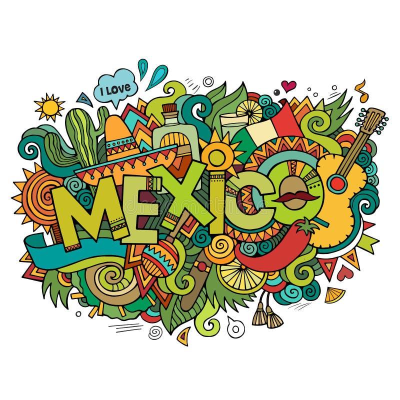 De hand van Mexico het van letters voorzien en krabbelselementen royalty-vrije illustratie