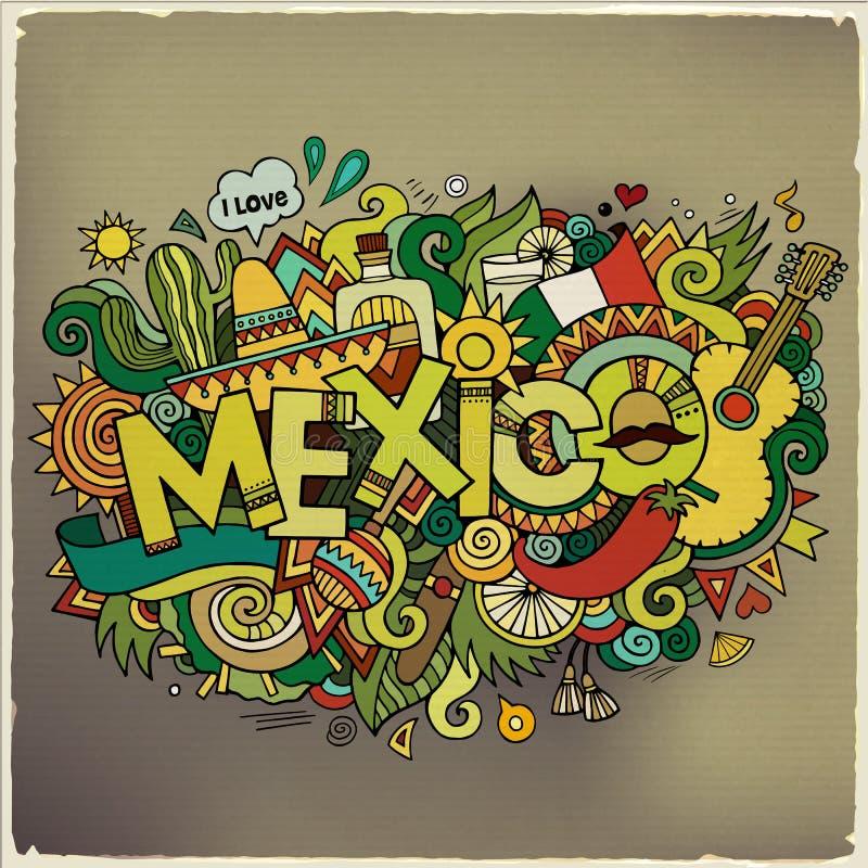 De hand van Mexico het van letters voorzien en krabbelselementen stock illustratie