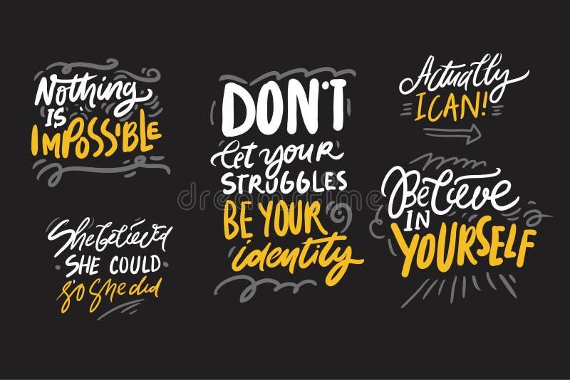 De hand van de motivatieinspiratie het van letters voorzien citaten voor uw ontwerp royalty-vrije illustratie