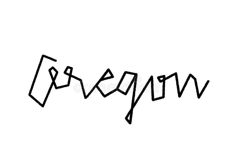 De hand van Oregon het van letters voorzien op witte achtergrond royalty-vrije illustratie