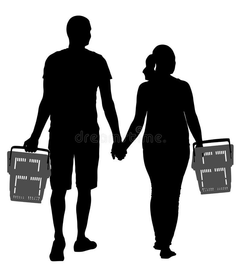 De hand van de paarholding en het lopen in het winkelen markt vectorsilhouet De mensen met de mand van de consument kopen voedsel stock illustratie