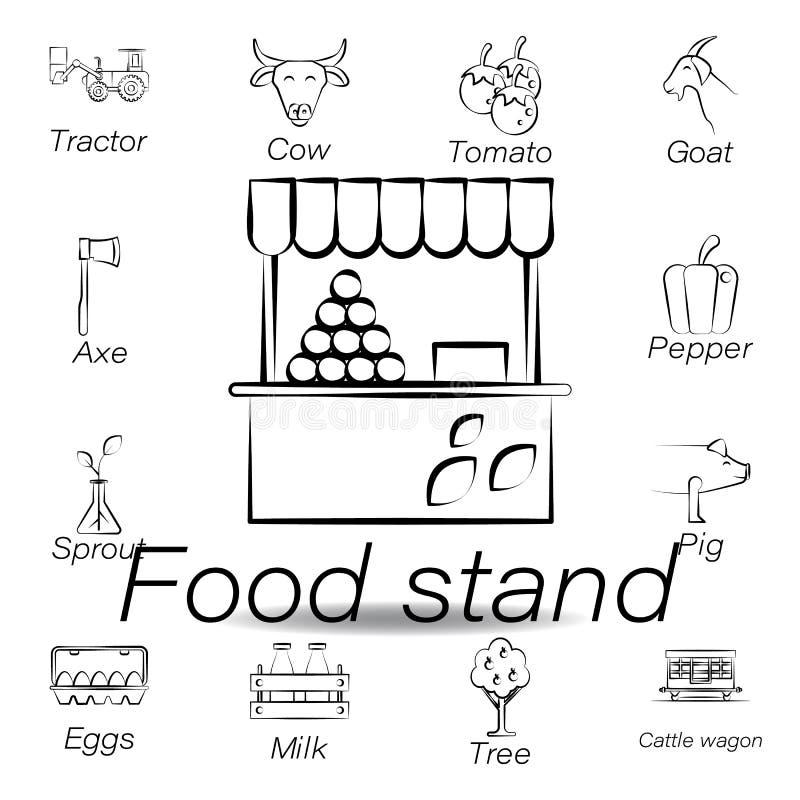 De hand van de voedseltribune trekt pictogram Element van de landbouw van illustratiepictogrammen De tekens en de symbolen kunnen vector illustratie