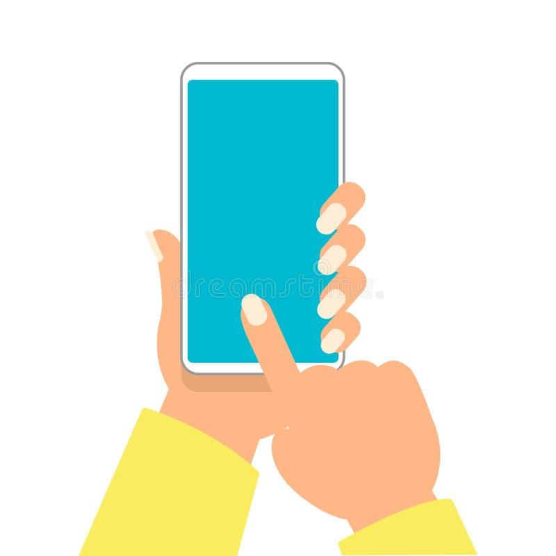 De hand van vrouw houdt smartphone en richtend op het lege scherm voor voeg objecten vectorillustratie toe stock illustratie