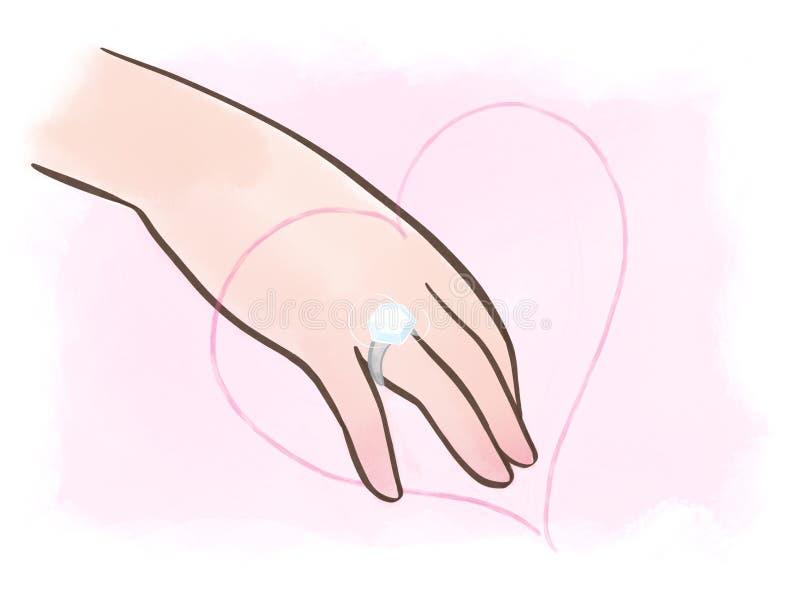 De Hand van de vrouw met Groot Diamond Ring vector illustratie