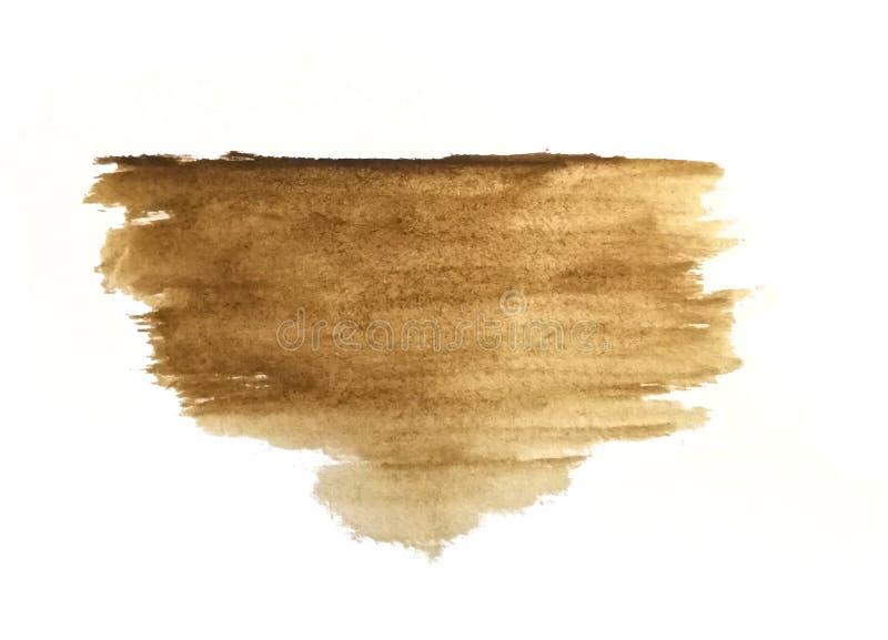 De hand van de waterverfborstel die op document bruine samenvatting wordt getrokken stock illustratie
