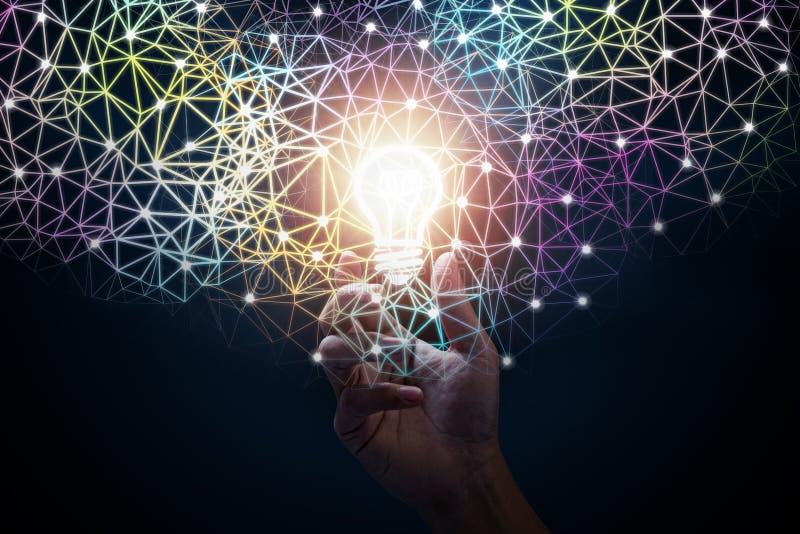 De hand van de zakenman Innovatief ideeconcept stock afbeelding