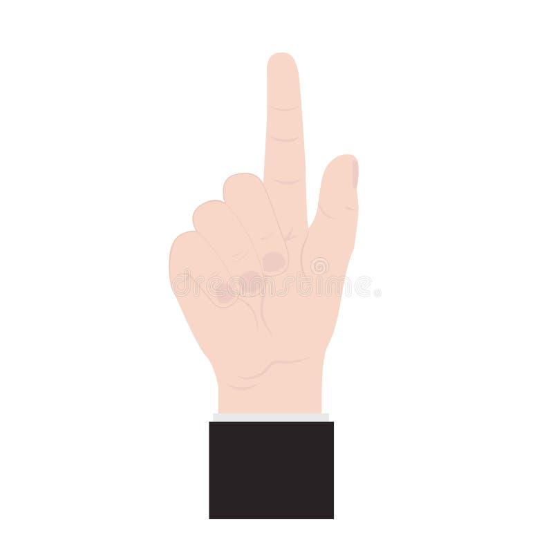 De hand, vinger drukt de knoop Vlakke stijl Vector vector illustratie
