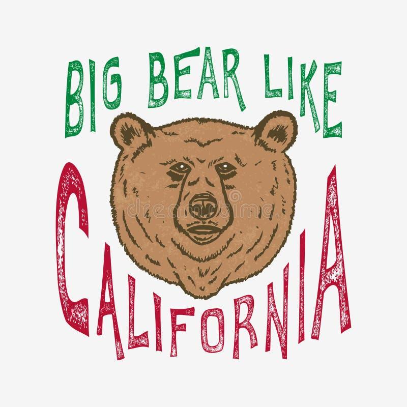 De hand voorzag Groot van letters draagt als Californië royalty-vrije illustratie