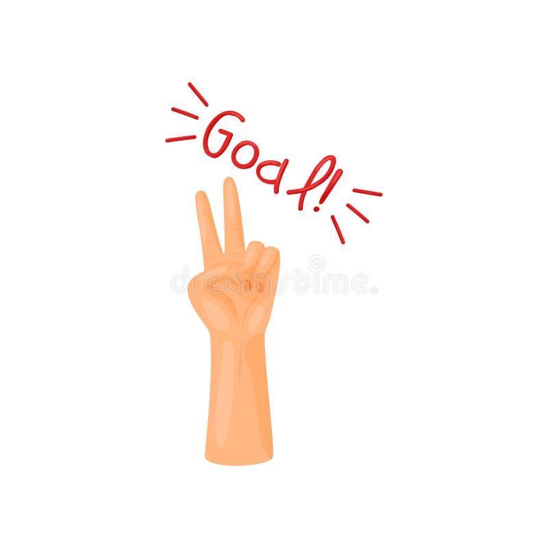 De hand wordt opgeheven omhoog en toont een gebaar van overwinning Vector illustratie op witte achtergrond vector illustratie