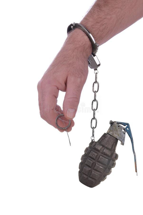De handboeien om:doen aan een granaat royalty-vrije stock foto