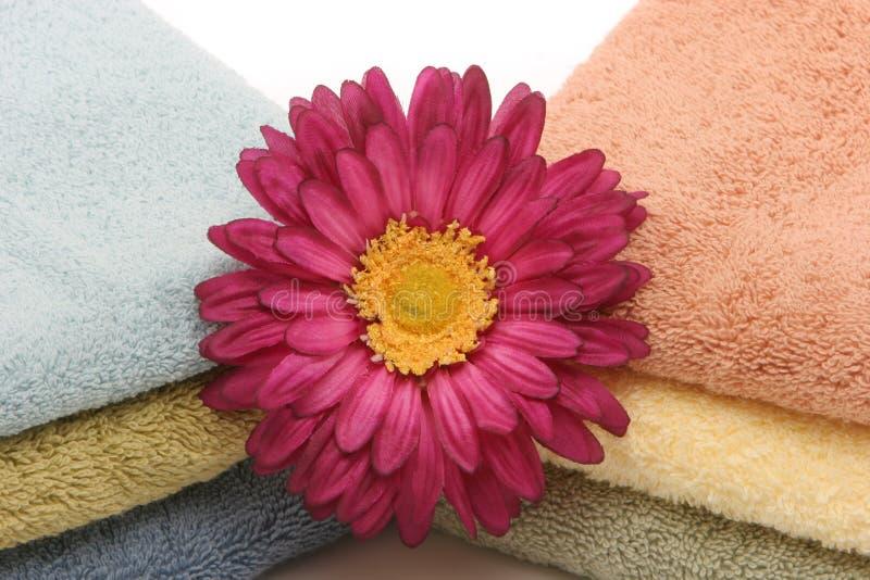 De handdoeken en het madeliefje van het kuuroord royalty-vrije stock afbeeldingen