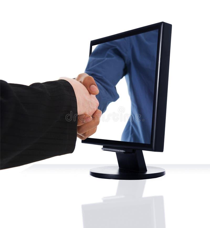 De Handdruk van de monitor stock afbeelding