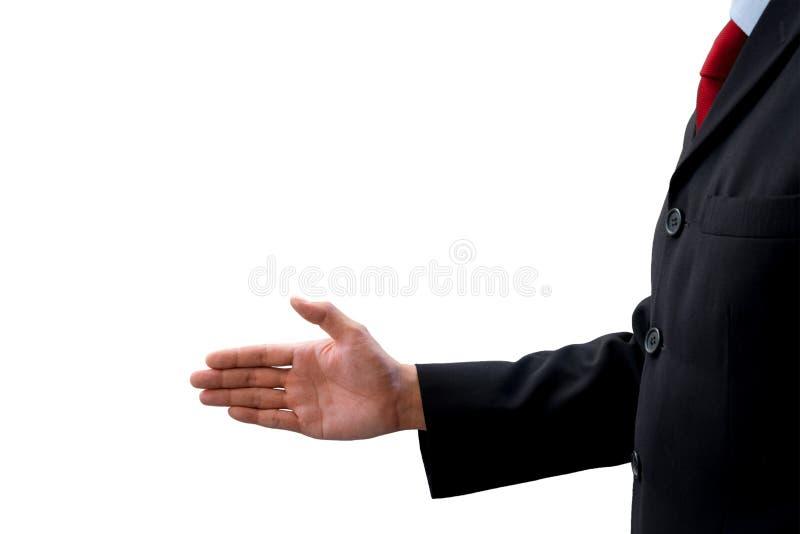 De handdruk van de zakenmanaanbieding voor het maken van overeenkomst in zaken stock foto