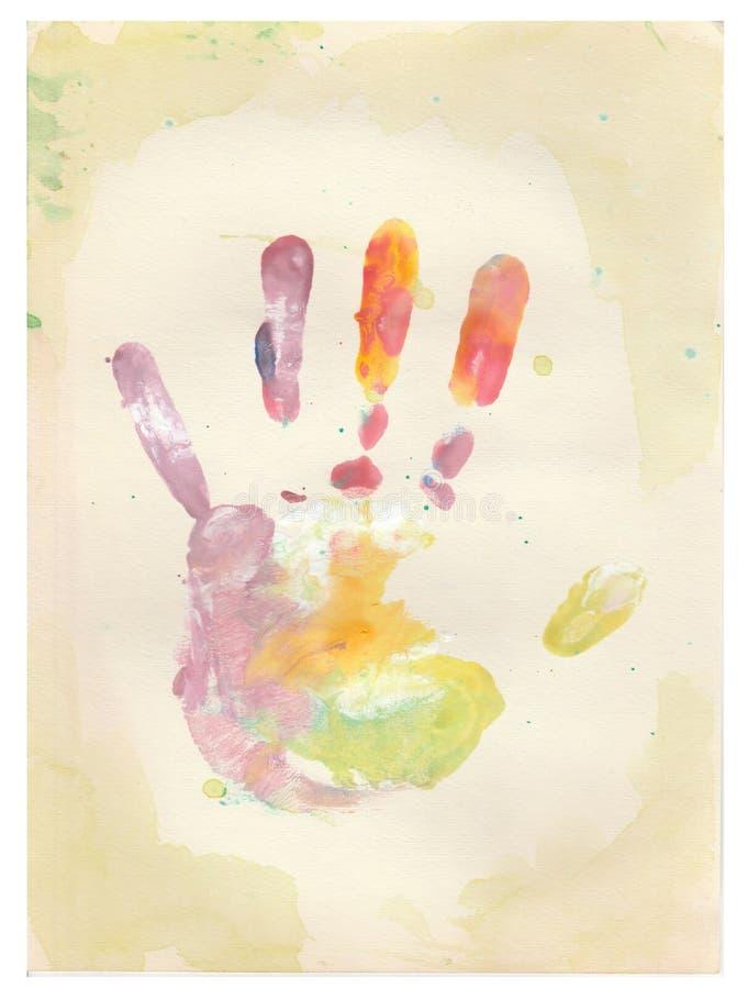 De handdruk van het kleurenkind stock fotografie