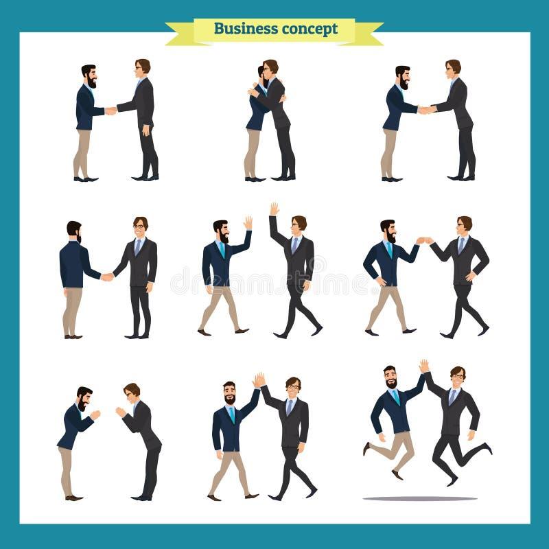 De handdruk van de mens `s Het bedrijfsmensengroepswerk, reeks Zakenlieden in verschillend stelt, status, gekruiste wapens, hande stock illustratie