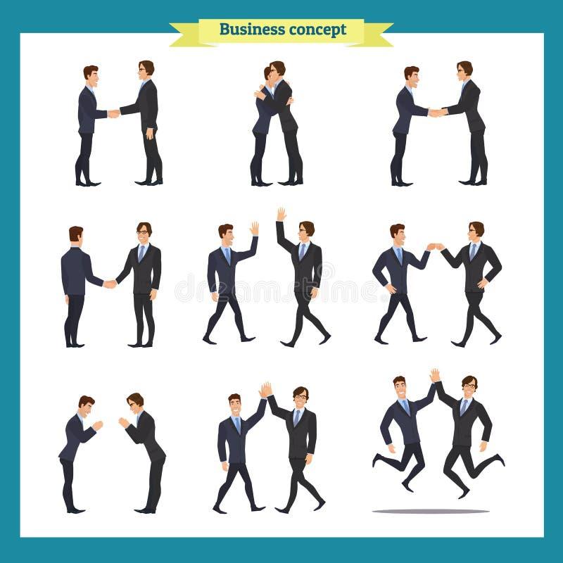 De handdruk van de mens `s Het bedrijfsmensengroepswerk, reeks Zakenlieden in verschillend stelt, status, gekruiste wapens, hande vector illustratie