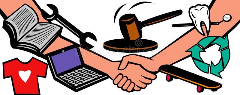 De handel van de de veilingsruilhandel van Handsshake vector illustratie