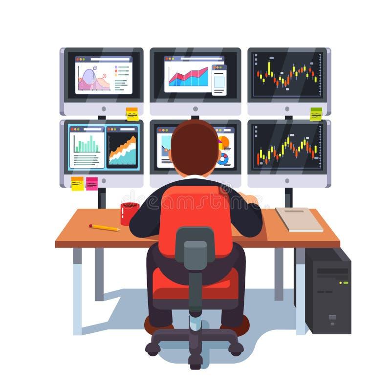 De handelaar die van de effectenbeursuitwisseling bij bureau werken royalty-vrije illustratie