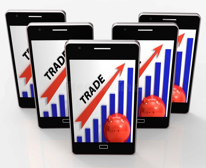 De handelsgrafiek toont de Groei in Markten en Aandeelwaarde royalty-vrije illustratie