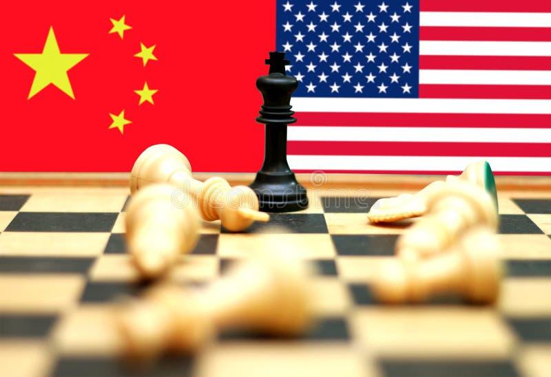 De handelsoorlog van de V.S. en van China stock fotografie
