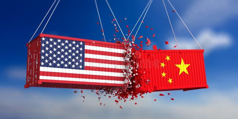 De handelsoorlog van de V.S. en van China De V.S. van de Chinese vlaggen verpletterde containers van Amerika en op blauwe hemelac vector illustratie
