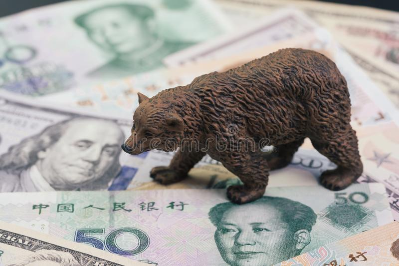 De de handelsoorlog van de V.S. en van China en het tariefeffect aan baissemarkt, prijsdaling in voorraadconcept, dragen cijfer l royalty-vrije stock afbeeldingen