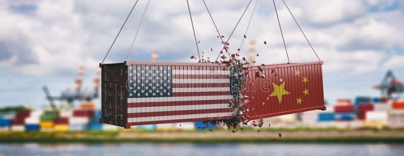 De handelsoorlog van de V.S. en van China Verpletterde containers, bewolkte hemelachtergrond, banner 3D Illustratie stock illustratie