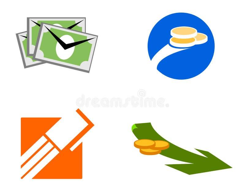 De handelspictogrammen en emblemen van het geld stock illustratie