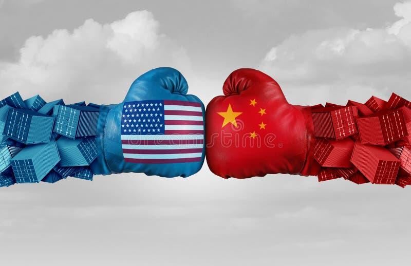 De Handelsuitdaging van China de V.S. vector illustratie