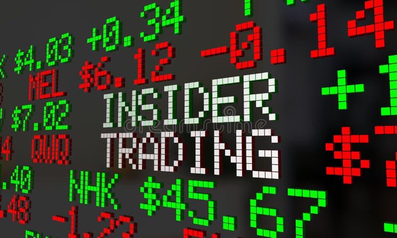 De Handelticker van Illegal Stock Market van de insiderhandelaar Symbolen royalty-vrije illustratie