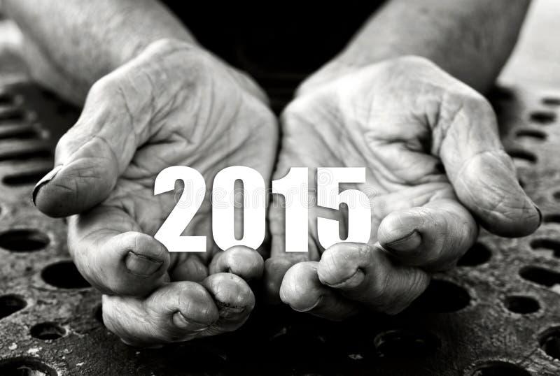 2015 in de handen royalty-vrije stock foto