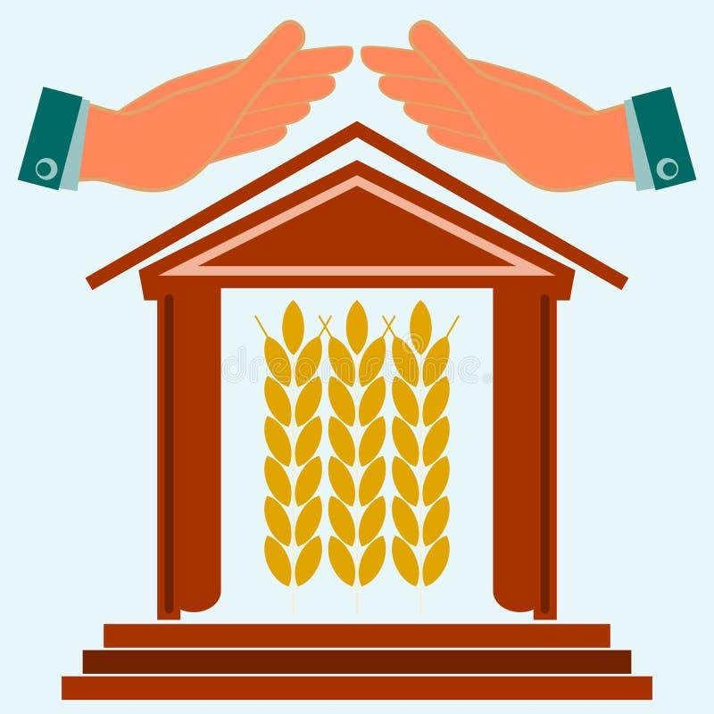 De handen beschermen het huis met oren van tarwe stock illustratie
